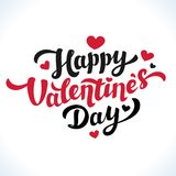 Szczęśliwy walentynka dnia literowanie 14th Luty kartka z pozdrowieniami Czarna i Czerwona inskrypcja z sercami na bielu Fotografia Royalty Free