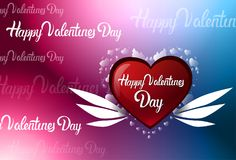 Szczęśliwy walentynka dnia plamy Kolorowy tło Z literowaniem, kartka z pozdrowieniami Z Czerwonym sercem Obraz Stock