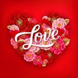 Szczęśliwy walentynka dnia sztandar z pięknymi kolorowymi kwiatami i ilustracji