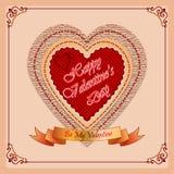 Szczęśliwy walentynka dnia tło z Mój walentynka tekstem na tasiemkowej i ornamentacyjnej ramie Fotografia Royalty Free