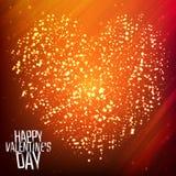 Szczęśliwy walentynka dnia tło z olśniewającym sercem Zdjęcia Royalty Free