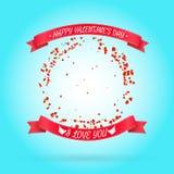 Szczęśliwy walentynka dnia tło z round ramą Obrazy Royalty Free