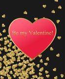 Szczęśliwy walentynka dnia złota tło Złocisty i czerwony serce z złotym tekstem Szablon dla tworzyć kartka z pozdrowieniami, Pośl ilustracja wektor