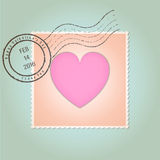Szczęśliwy walentynka dnia znaczka pocztowego rocznik royalty ilustracja