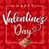 Szczęśliwy walentynka dzień, róża kwiat i serca kartka z pozdrowieniami, Zdjęcia Stock
