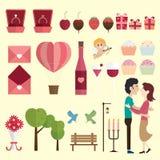Szczęśliwy walentynki ikony set Zdjęcie Royalty Free