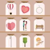 Szczęśliwy walentynki ikony set Zdjęcia Royalty Free