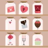 Szczęśliwy walentynki ikony set Obraz Royalty Free