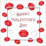 Szczęśliwy walentynki ` s dnia kartka z pozdrowieniami szablon z czerwonymi wargami, białymi sercami, sqare ramą i tekstem na bia Zdjęcie Royalty Free