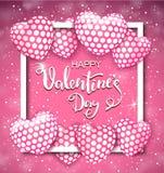 Szczęśliwy walentynki s dnia kartka z pozdrowieniami z serce kształtującymi lotniczymi balonami i ramą również zwrócić corel ilus Zdjęcia Royalty Free