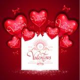 Szczęśliwy walentynki ` s dnia karty szablon z Kolorowym i Glansowanym rewolucjonistki folii sercem Szybko się zwiększać i ono Kł Obrazy Royalty Free