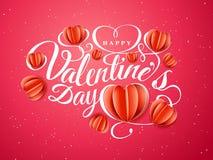 Szczęśliwy walentynki s dzień Chrzcielnica skład z papierowymi czerwonymi sercami na czerwonym tle Wektorowy piękny wakacje Obrazy Stock