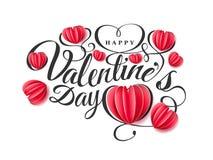 Szczęśliwy walentynki s dzień Chrzcielnica skład z papierowymi czerwonymi sercami na różowym tle Wektorowy piękny wakacje Fotografia Stock