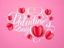 Szczęśliwy walentynki s dzień Chrzcielnica skład z papierowymi czerwonymi sercami odizolowywającymi na różowym tle Wektorowy pięk Zdjęcie Royalty Free