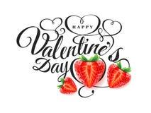Szczęśliwy walentynki s dzień Chrzcielnica skład z piękną 3d realistyczną świeżą truskawką z cięciem w kształcie serce Obrazy Royalty Free
