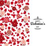 Szczęśliwy walentynki tło Dobry projekta szablon dla sztandaru, kartka z pozdrowieniami, ulotka Papierowi sztuka kwiaty, serca i Obraz Royalty Free