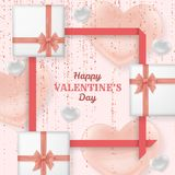 Szczęśliwy walentynki tło z błyszczącymi i glansowanymi sercami Pastelowych menchii confetti i błyskotliwość Kartka z pozdrowieni royalty ilustracja