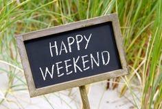Szczęśliwy weekendu znak zdjęcie stock