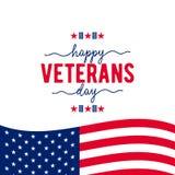 Szczęśliwy weterana dzień z falowanie flaga amerykańską Zdjęcia Royalty Free
