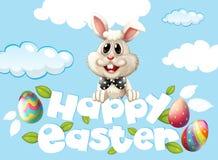 Szczęśliwy Wielkanocnej karty szablon z królikiem i jajka w niebie Zdjęcie Stock