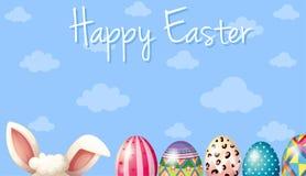 Szczęśliwy Wielkanocnej karty szablon z królikiem i jajkami Obraz Stock