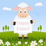 Szczęśliwy Wielkanocny Śmieszny baranek w łące ilustracji