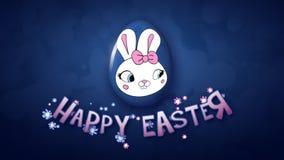 Szczęśliwy Wielkanocny animacja tytułu przyczepy 25 FPS bąbli zmrok - błękit ilustracja wektor