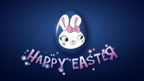 Szczęśliwy Wielkanocny animacja tytułu przyczepy 25 FPS kropek zmrok - błękit ilustracja wektor