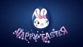 Szczęśliwy Wielkanocny animacja tytułu przyczepy 50 FPS kropek zmrok - błękit ilustracja wektor