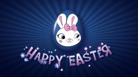 Szczęśliwy Wielkanocny animacja tytułu przyczepy 30 FPS nieskończoności zmrok - błękit ilustracja wektor