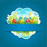 Szczęśliwy Wielkanocny błękitny tło Fotografia Royalty Free