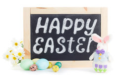 Szczęśliwy Wielkanocny chalkboard Obrazy Royalty Free