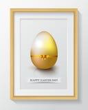 Szczęśliwy Wielkanocny dnia kartka z pozdrowieniami z barwionymi jajkami i kwiatami Zdjęcia Stock