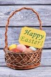 Szczęśliwy Wielkanocny kartka z pozdrowieniami, kosz Obrazy Stock