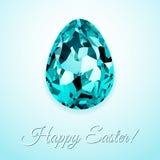 Szczęśliwy Wielkanocny kartka z pozdrowieniami projekt z kreatywnie krystalicznym Easter jajkiem na lekkim tle i szyldowej Szczęś royalty ilustracja