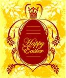 Szczęśliwy Wielkanocny kartka z pozdrowieniami z jajkiem Zdjęcie Stock