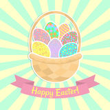 Szczęśliwy Wielkanocny kartka z pozdrowieniami Z koszem, Obraz Stock