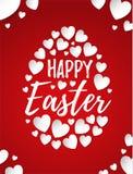 Szczęśliwy Wielkanocny kartka z pozdrowieniami z ręka rysującym literowaniem i białymi sercami tworzy jajeczną ilustrację royalty ilustracja