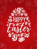 Szczęśliwy Wielkanocny kartka z pozdrowieniami z ręka rysującym literowaniem i biali jajka z kwiecistymi elementami ilustracja wektor