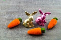 Szczęśliwy Wielkanocny królik i barwioni jajka Obrazy Stock