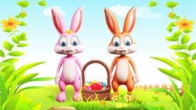 Szczęśliwy Wielkanocny królik mówi cześć royalty ilustracja