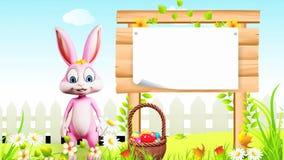 Szczęśliwy Wielkanocny królik mówi cześć z znakiem ilustracja wektor
