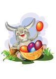 Szczęśliwy Wielkanocny królik z jajkami - ilustracja royalty ilustracja