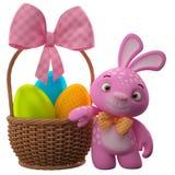 Szczęśliwy Wielkanocny królik z jajkami w koszu ilustracja wektor