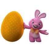 Szczęśliwy Wielkanocny królik z koloru jajkiem Fotografia Royalty Free