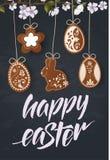 Szczęśliwy Wielkanocny literowanie, miodownik w postaci jajek Wiosna wakacje, Wielkanocny tło Wektorowa ilustracja EPS10 obraz stock