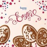 Szczęśliwy Wielkanocny literowanie, miodownik w postaci jajek Wiosna wakacje, Wielkanocny tło Obraz Stock