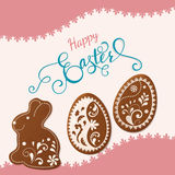 Szczęśliwy Wielkanocny literowanie, miodownik w postaci jajek Wiosna wakacje, Wielkanocny tło Zdjęcia Stock