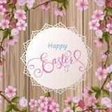 Szczęśliwy Wielkanocny literowanie, miodownik w postaci jajek Wiosna wakacje, Wielkanocny tło Fotografia Stock