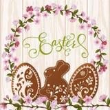 Szczęśliwy Wielkanocny literowanie, miodownik w postaci jajek Wiosna wakacje, Wielkanocny tło Fotografia Royalty Free